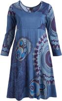 Aller Simplement Blue Medallion A-Line Midi Dress - Plus Too