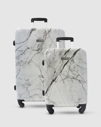 Jett Black White Marble Series Short Stay Luggage Set