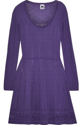 M Missoni Flared Crochet-knit Wool-blend Mini Dress