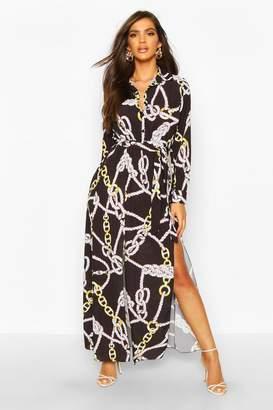 boohoo Woven Chain Print Tie Belt Midi Dress
