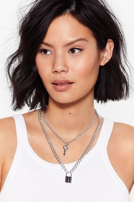 Nasty Gal Womens Under Lock and Key Layered Necklace - Silver