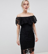 Paper Dolls Petite bardot lace pencil dress with frill detail in black