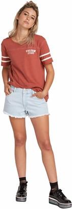 Volcom Plus Size Junior's Women's Mid Rise Raw Hem Denim Short