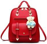 Hynbase Women's Retro Cute Korean Leather Student Bag Backpack Shoulder Bag