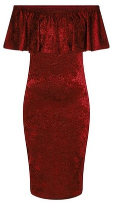 Dorothy Perkins Womens Girls On Film Burgundy Velvet Bardot Bodycon Dress, Burgundy