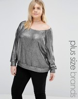 Alice & You Off The Shoulder Sweater In Metallic Knit