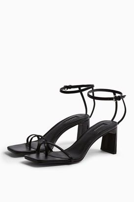 Topshop NATURE Black Strappy Block Heels