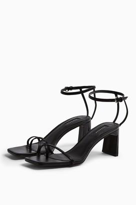 Topshop Womens Nature Black Strappy Block Heels - Black