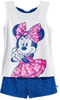 Disney Disney's 2-Pc. Minnie Mouse Graphic-Print Tank Top & Shorts Set, Toddler & Little Girls (2T-6X)