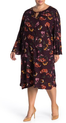 Love, Fire Bell Sleeve Floral Print Dress (Plus Size)
