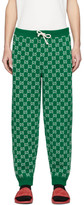 Gucci Green and Off-White Wool GG Lounge Pants