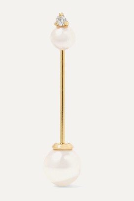 Mizuki 14-karat Gold, Pearl And Diamond Earring - one size