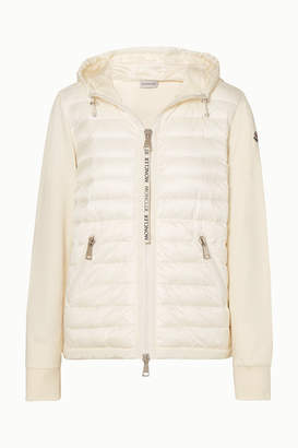 Moncler Hooded Quilted Shell And Cotton-jersey Down Jacket - White