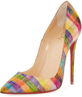 Christian Louboutin So Kate Plaid 120mm Red Sole Pump, Multi