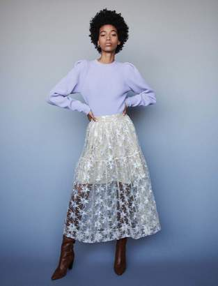 Maje Sequin-embroidered tulle skirt