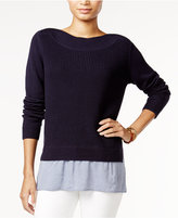 Tommy Hilfiger Contrast-Hem Sweater, Only at Macy's
