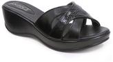 Black Crisscross Wedge Sandal