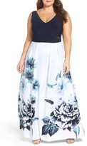 Xscape Evenings Plus Size Women's Colorblock Floral Print Gown