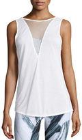 Alo Yoga Warm-Up Mesh-Inset Sport Tank Top, White