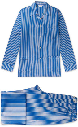 Derek Rose Royal 215 Striped Cotton-Poplin Pyjama Set
