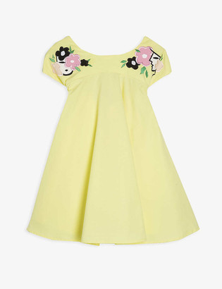 Raspberry Plum Jolie embroidered floral bow-tie cotton dress 3-14 years