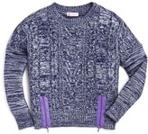 Design History Girls' Marled Zip Cropped Sweater