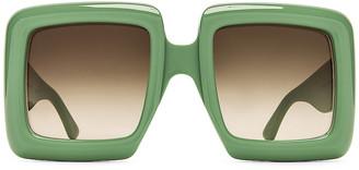 Gucci Oversize Square Sunglasses in Sage & Gradient Green | FWRD