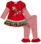 Bonnie Jean Bonnie Baby Baby Girls Newborn-24 Months Christmas Candy-Cane-Applique Dress & Striped Leggings Set