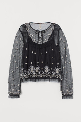 H&M Mesh Blouse with Embroidery - Black