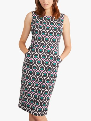 Boden Heather Abstract Print Square Neck Dress, French Navy/Multi