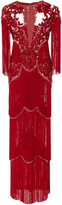 Marchesa Embroidered Tiered Fringe Column Gown
