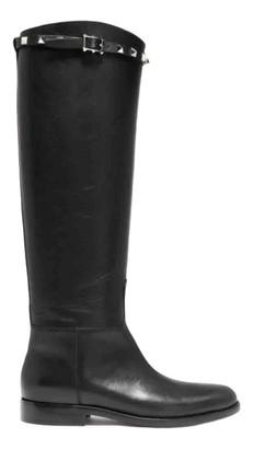 Valentino Rockstud Black Leather Boots