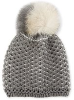 Inverni English-Rib Knit Beanie w/ Two-Tone Fur Pompom