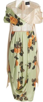 Simone Rocha Floral-Print Silk Wrap Dress