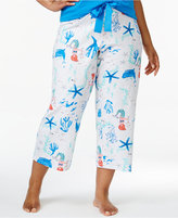 Hue Plus Size Printed Cotton Capri Pajama Pants