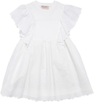 Alberta Ferretti Cotton Jersey & Eyelet Lace Dress