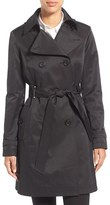 Via Spiga Women's Double Breasted Trench With Faux Leather Trim