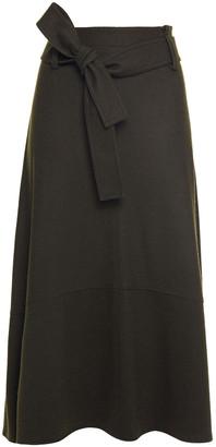 Vince Belted Wool-blend Felt Midi Skirt