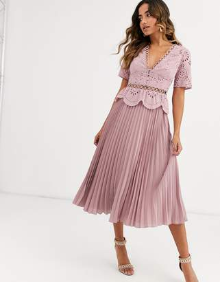 Asos Design DESIGN broderie button front pleated midi tea dress-Pink