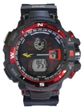 Everlast Mens Black Rubber Strap Digital Multiple Display Sports Watch 51mm