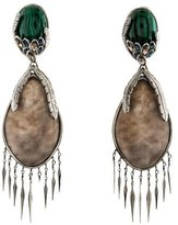 Alexis Bittar Malachite, Lucite & Crystal Drop Earrings