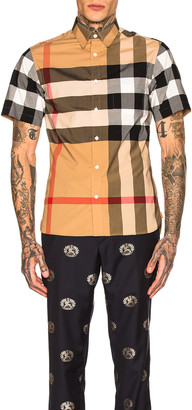 Burberry Giant Exploded Stretch Shirt in Camel Check | FWRD