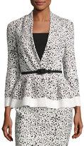Carolina Herrera Splatter-Print Peplum Jacket, White/Black