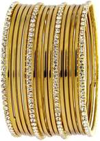 The Jewelbox Wedding Bridal 22K Antique Gold Plated American Diamond Slim Bangle Set of 16 for Women