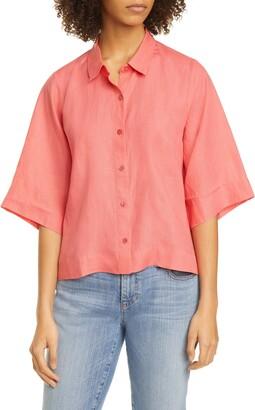 Eileen Fisher Classic Collar Boxy Linen Shirt