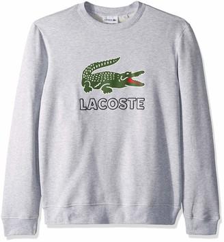 Lacoste Men's Long Sleeve Graphic Croc Brushed Fleece Jersey Sweatshirt