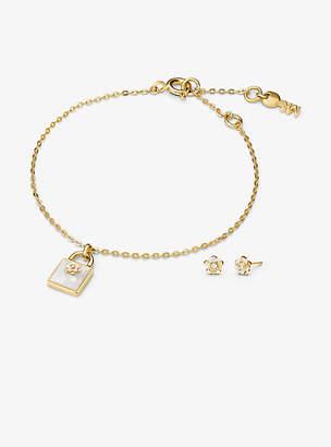 Michael Kors 14k Gold-Plated Sterling Silver Lock Bracelet And Earrings Set