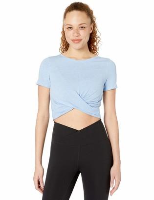 Core 10 Amazon Brand Women's Soft Pima Cotton Stretch Twist Front Cropped Yoga T-Shirt