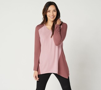 Denim & Co. Active Regular Heavenly Jersey Colorblocked Tunic