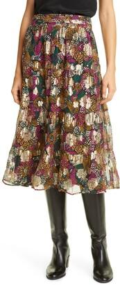 BA&SH Lana Floral Print Midi Skirt